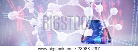 DNA structure against conical flask with chemical solution