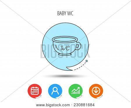 Baby Wc Pot Icon. Child Toilet Sign. Washroom Or Lavatory Symbol. Calendar, User And Business Chart,