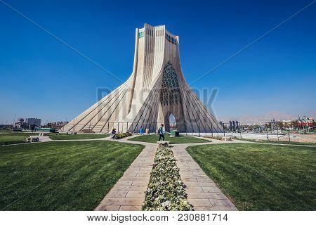 Tehran, Iran - October 15, 2016: One Of The Most Famous Tehran Landmarks - Azadi Tower Located At Az