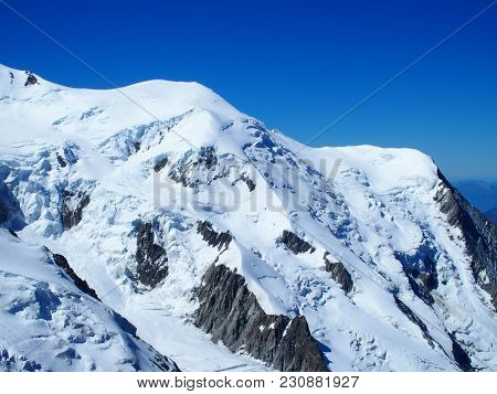 Mont Blanc Peak Of Alpine Mountains Range Landscapes In Beauty French Alps Seen From Aiguille Du Mid