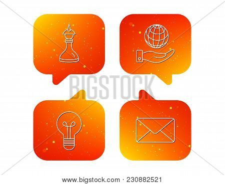 Strategy, Save Planet And Mail Envelope Icons. Lamp Lightbulb Linear Sign. Orange Speech Bubbles Wit