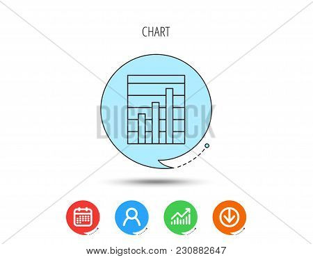 Chart Icon. Graph Diagram Sign. Demand Growth Symbol. Calendar, User And Business Chart, Download Ar