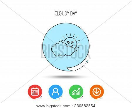 Cloudy Day With Sun Icon. Overcast Weather Sign. Meteorology Symbol. Calendar, User And Business Cha