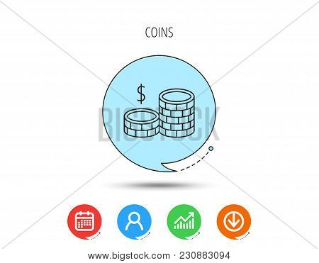 Dollar Coins Icon. Cash Money Sign. Bank Finance Symbol. Calendar, User And Business Chart, Download