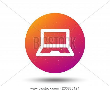 Computer Icon. Notebook Or Laptop Pc Symbol. Circle Button With Soft Color Gradient Background. Vect