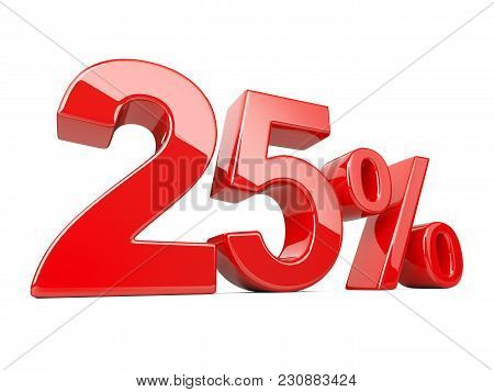 Twenty Five Red Percent Symbol. 25% Percentage Rate. Special Offer Discount. 3d Illustration Isolate
