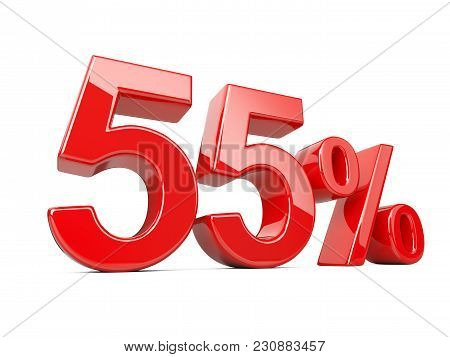 Fifty Five Red Percent Symbol. 55% Percentage Rate. Special Offer Discount. 3d Illustration Isolated