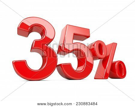 Thirty Five Five Red Percent Symbol. 35% Percentage Rate. Special Offer Discount. 3d Illustration Is