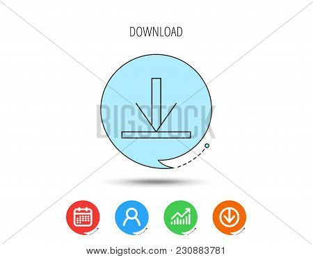 Download Icon. Down Arrow Sign. Internet Load Symbol. Calendar, User And Business Chart, Download Ar