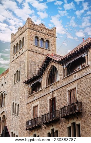Ironwork And Stone Tower In Old Barcelona Building