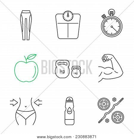 Fitness Linear Icons Set. Leggings, Floor Scales, Stopwatch, Apple, Kettlebells, Bicep Muscle, Weigh