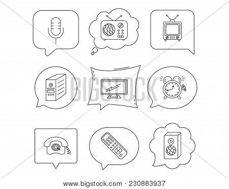 Tv Remote, Retro Phone And Radio Icons. Pc Case, Microphone And Alarm Clock Linear Signs. Linear Spe