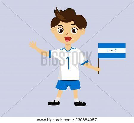 Fan Of Honduras National Football, Hockey, Basketball Team, Sports. Boy With Honduras Flag In The Co