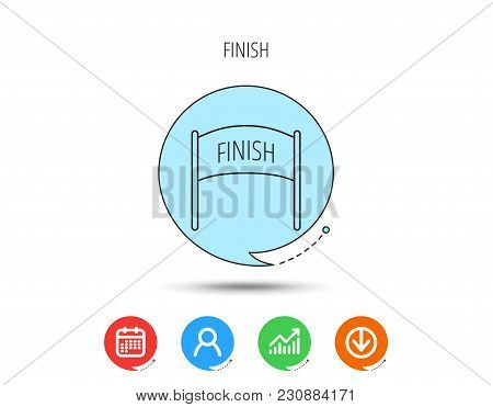 Finish Banner Icon. Marathon Checkpoint Sign. Calendar, User And Business Chart, Download Arrow Icon