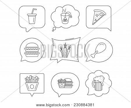 Hamburger, Pizza And Soft Drink Icons. Beer, Tea Bag And Chips Fries Linear Signs. Chicken Leg, Carr