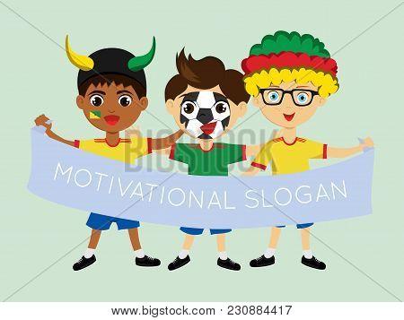 Fan Of Guiana National Football, Hockey, Basketball Team, Sports. Boy With Guiana Flag In The Colors