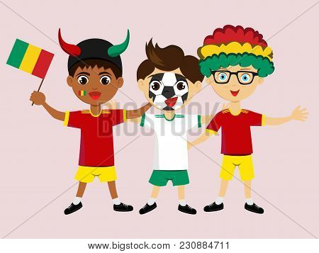 Fan Of Guinea National Football, Hockey, Basketball Team, Sports. Boy With Guinea Flag In The Colors