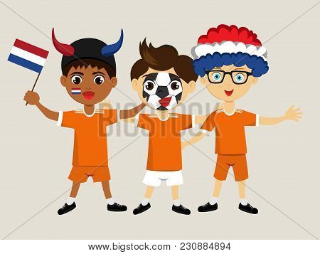 Fan Of Netherlands National Football, Hockey, Basketball Team, Sports. Boy With Netherlands Flag In