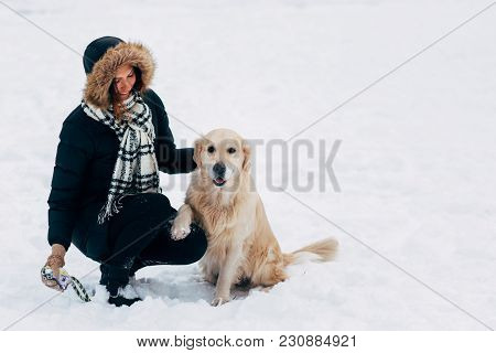 Image Of Smiling Girl With Dog In Winter Park At Afternoon