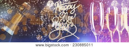 Happy New Year message against white fireworks exploding on black background