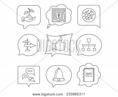 Global Network, Like And Conversation Icons. Book, Bell And Direction Arrows Linear Signs. Save Natu
