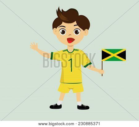 Fan Of Jamaica National Football, Hockey, Basketball Team, Sports. Boy With Jamaica Flag In The Colo