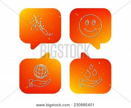 Save Water, Save Planet And Slapstick Icons. Smiling Face Linear Sign. Orange Speech Bubbles With Ic