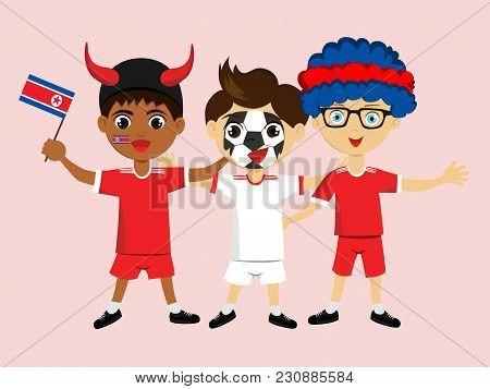 Fan Of Korea National Football, Hockey, Basketball Team, Sports. Boy With Korea Flag In The Colors O