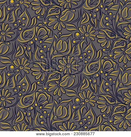 Engraving Sketch Flower Seamless Vector Pattern. Line Handdrawn Style Repeat Texture With Chamomiles