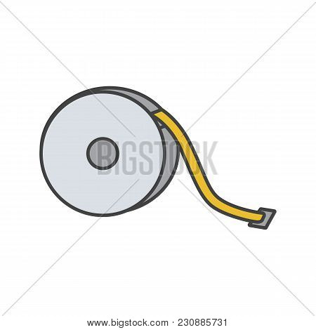 Measuring Tape Color Icon. Sewing Meter. Tapeline. Isolated Vector Illustration