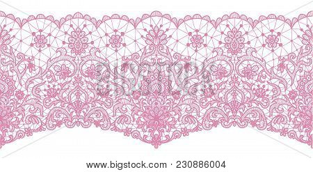 Horizontally Seamless Pink Lace Background With Lace Border