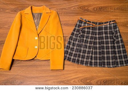 Stylish Female Blazer And Skirt On Wooden Background