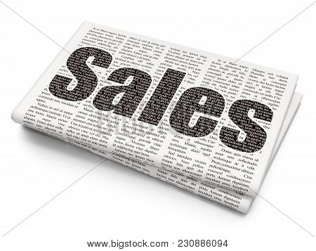 Advertising Concept: Pixelated Black Text Sales On Newspaper Background, 3d Rendering