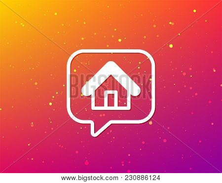 Home Icon. House Building Symbol. Real Estate Construction. Soft Color Gradient Background. Speech B