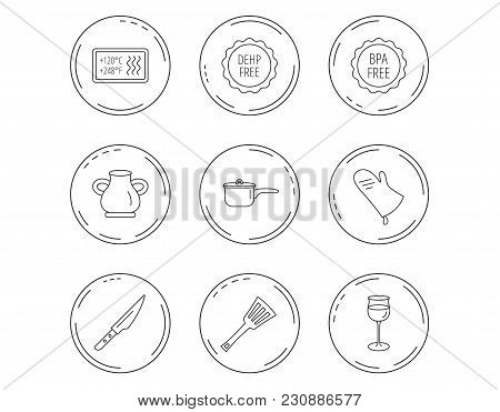 Saucepan, Potholder And Wineglass Icons. Kitchen Knife, Utensils And Vase Linear Signs. Heat-resista