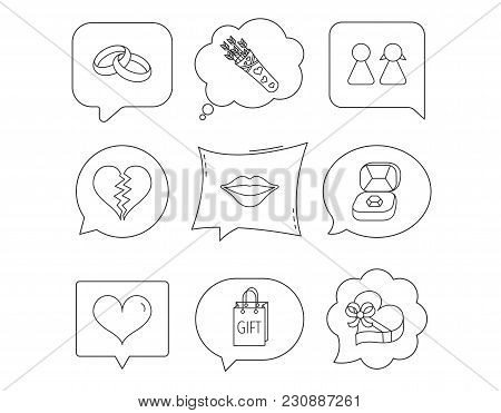 Love Heart, Kiss And Wedding Rings Icons. Broken Heart, Couple And Gift Box Linear Signs. Valentine