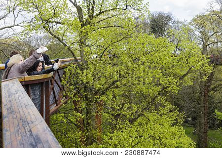 London, Uk - April 18, 2014. Tourists Take Selfies From The Treetop Walkway At Kew Botanic Gardens.