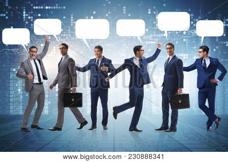 Businessmen with callout bubble blank message