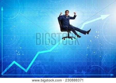 Businessman in economic growth concept