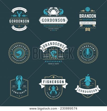 Seafood Restaurant Logos Set Vector Illustration. Market And Fisherman Emblems, Fishes And Seafood S