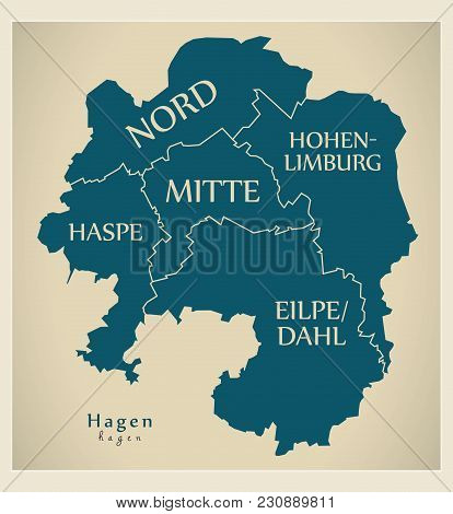 Modern City Map - Hagen City Of Germany With Boroughs And Titles De