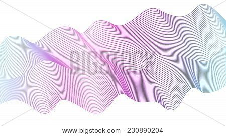 Abstract Wavy Striped Pattern On White Background. Vector Vibrant Purple, Pink, Blue Wave. Line Art