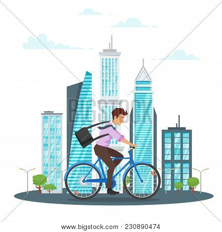 Vector Cartoon Style Illustration Of City Landscape. Urban Skyline. Modern Skyscrapers And City Tran