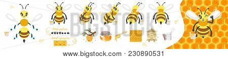 Vector Cartoon Style Bee Cute Character For Animation. Different Emotions And Beekeeping Symbols And