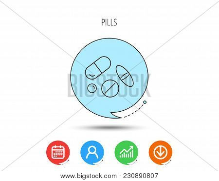 Pills Icon. Medicine Tablets Or Drugs Sign. Vitamins Symbol. Calendar, User And Business Chart, Down