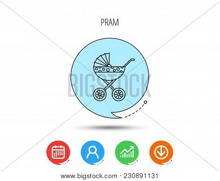 Pram Icon. Newborn Stroller Sign. Child Buggy Transportation Symbol. Calendar, User And Business Cha