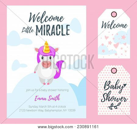 Vector Cartoon Style Illustration Of Baby Shower Invitation. Celebration Greeting Card And Tags Temp