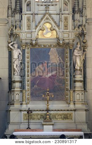 ZAGREB, CROATIA - OCTOBER 05: Altar of Saint Jerome in Zagreb cathedral dedicated to the Assumption of Mary in Zagreb, Croatia on October 05, 2015.