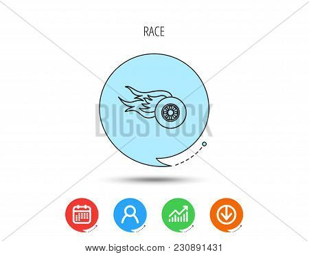 Wheel On Fire Icon. Race Or Speed Sign. Calendar, User And Business Chart, Download Arrow Icons. Spe