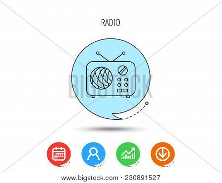 Radio Icon. Retro Musical Receiver Sign. Calendar, User And Business Chart, Download Arrow Icons. Sp